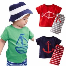 2 PCS Set Children Child Boy Summer time Garments Units Pirate Ship Printed T-Shirt+ Stripe Pant Children Boy Cartoon Clothes