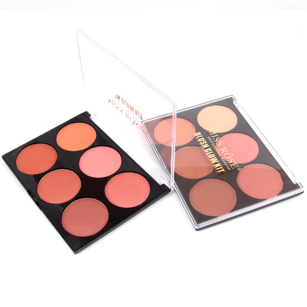 Miss Rose Pro 6 Color Makeup Blush Face Blusher Powder Palette Cosmetics Professional Makeup Smooth Contour Palette Set #248353 2018 new focallure smooth glow cheek color blusher palette natural mineral makeup silky blush bronzer powder