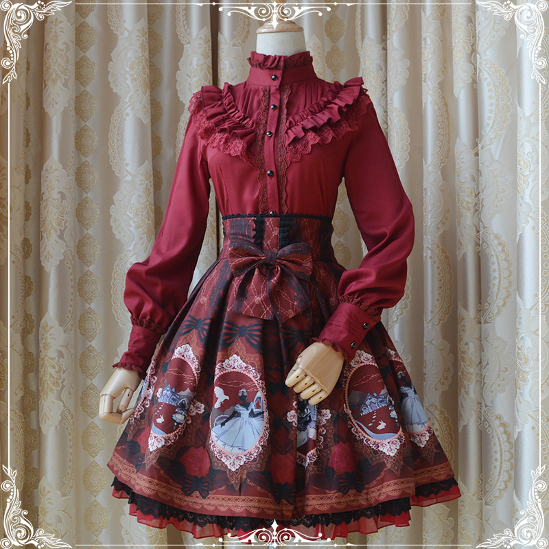5d0f3fe1a4 Alice Clear Printing High Quality Lolita SK Skirt Bow Lace Trim Double  Layers Chiffon Cute Skirt 3 Colors