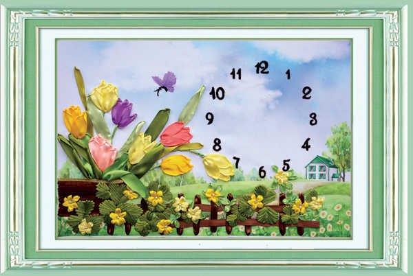 Needlework,DIY Ribbon Cross stitch Set for Embroidery kit,clock flower love ribbon Cross-Stitch Counted Painting wall home decor