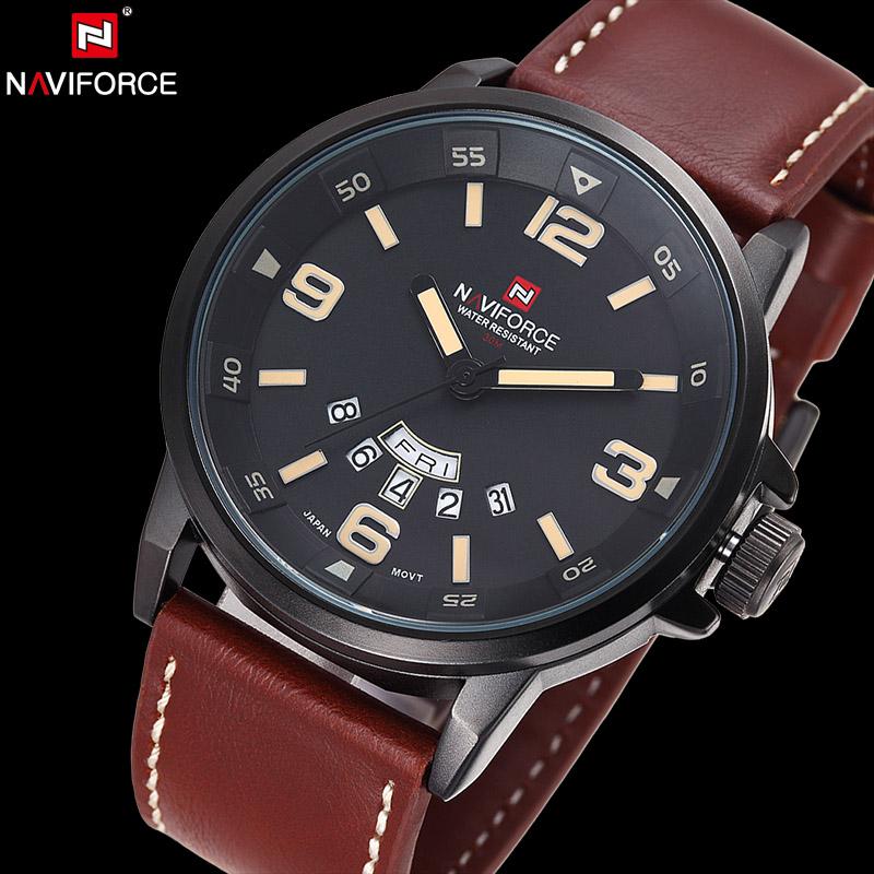 Prix pour NAVIFORCE D'origine Marque De Luxe Étanche Montre À Quartz Hommes En Cuir Armée Militaire Montre-Bracelet Calendrier Horloge relogio masculino
