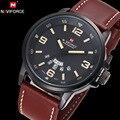 Naviforce original marca de luxo à prova d' água relógio de quartzo de couro dos homens do exército militar relógio de pulso relógio calendário relogio masculino
