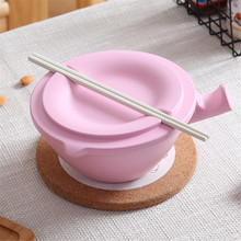 IPC Bamboo Fiber Instant Noodle Fruit Rice Bowl Bowl With Lid And Chopsticks Instant Noodle Bowl Chopsticks Lid W30704