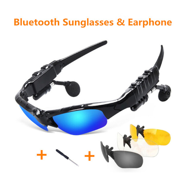 Sunglasses Bluetooth Headset Outdoor Glasses Earbuds Music with Mic Stereo Wireless Headphone for iPhone Samsung xiaomi mi 4 5