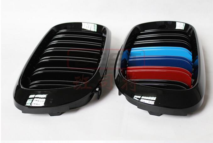 2pcs double deck Car Front 3D bumper Mesh Vent Hole Dirt Grill Grills Cover For BMW X5 F15 X6 F16 2015 2016 2017 Free Shipping
