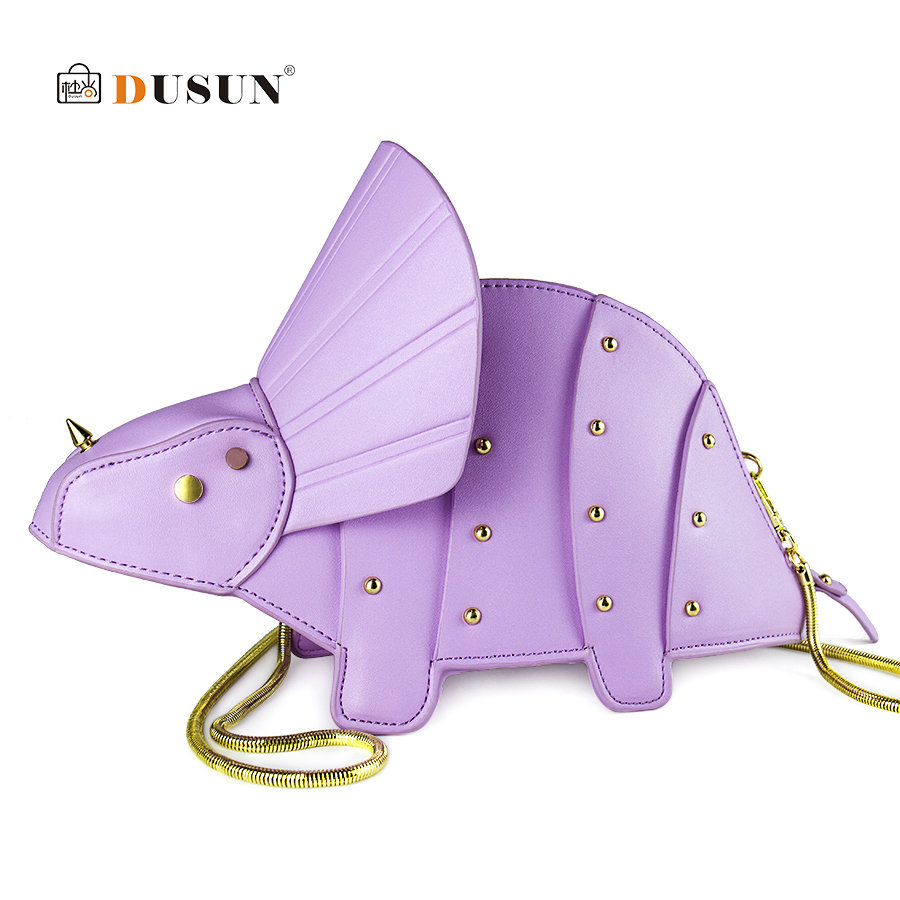 DUSUN Women Cute Cartoon Bag Chain Triceratops Shape Shoulder Messenger Bag for 2018 Girls Mini Rivet Crossbody Bags Purse Sac цена