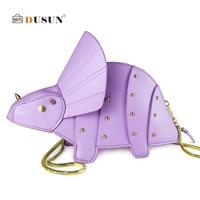 DUSUN Women Cute Cartoon Bag Chain Triceratops Shape Shoulder Messenger Bag for 2019 Girls Mini Rivet Crossbody Bags Purse Sac