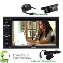 Android 6.0 Estéreo Del Coche Navegación gps 2Din dvd Frente Cámara de Marcha Atrás Del Vehículo de los GPS de Radio Bluetooth Apoyo Mirrorlink WiFi 1080 P