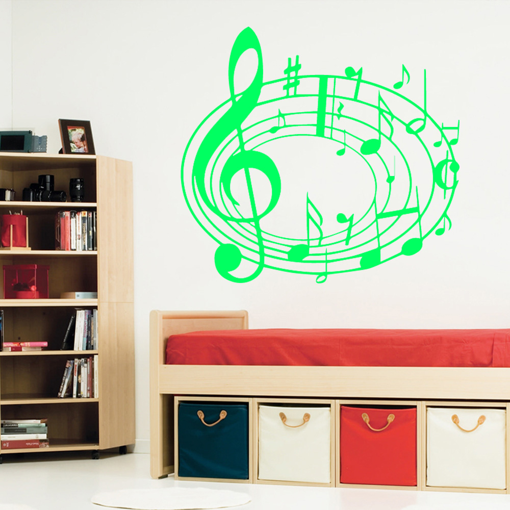 Musical Vinyl Wallpaper: Pretty Musical Notation Wall Stickers Adhesive Wallpaper