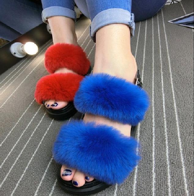 2016 outono verão mulheres genuíno real natural pele de coelho slides sandálias mulas chinelos peludos multi doce cor calcanhar plana 35-40