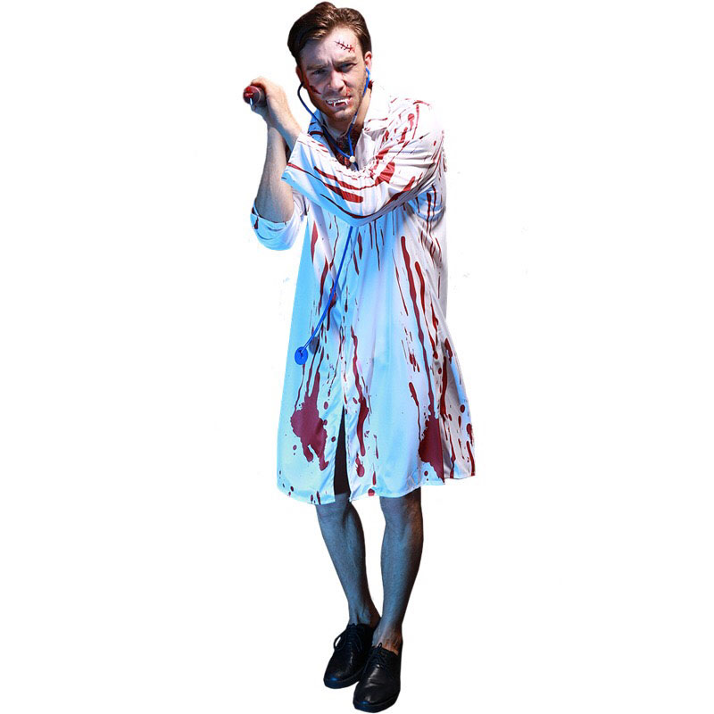 Adult Men Halloween Scary Bloody Print Lab Surgeon Doctor Zombie Costume  Horror Cos White Coat Outfit For Male Group Outfits Clever Group Costumes