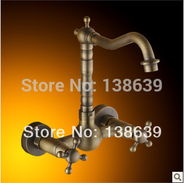 Free shipping Dual handle luxury wall mounted kitchen faucet antique brass kitchen sink mixer faucet tap