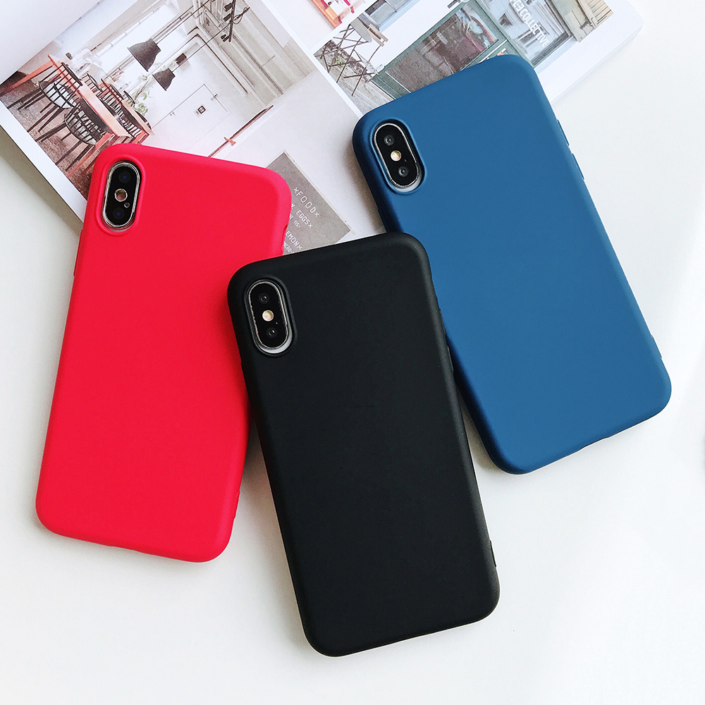 KIPX1124_10_JONSNOW Pure Color Silicone Case for iPhone XS XR XS Max 6 6S 6P 7 8 Plus Ultra-thin Matte Dirt-resistant Soft TPU Solid Cover