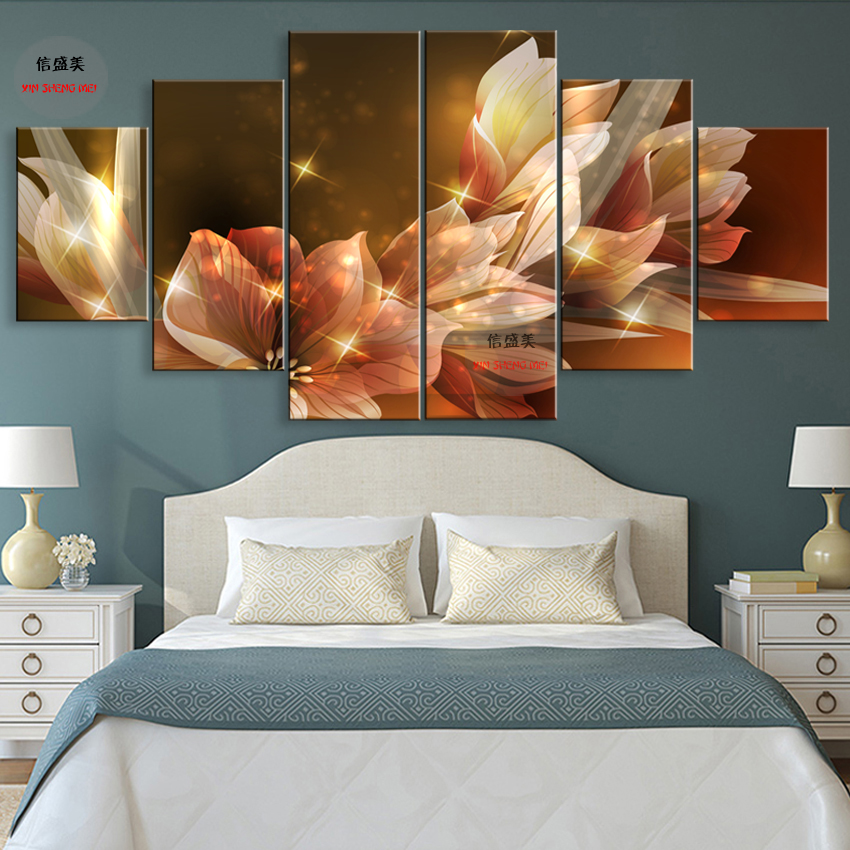 6 Stycke Modern Flower Canvas Pictures HD Print Modular Painting On - Heminredning - Foto 1