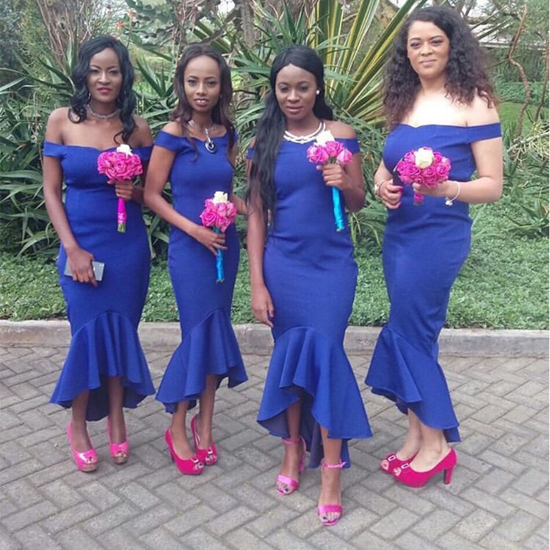 lamiabridal Tea Length Mermaid   Bridesmaid     Dresses   African Royal Blue Satin Wedding Guest Gowns Ruffle Skirt Formal   Dresses