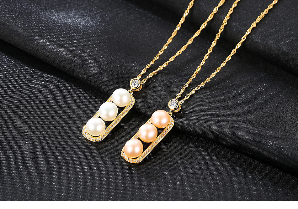 S925 sterling silver necklace female fashion pod natural freshwater pearl pendant HS09