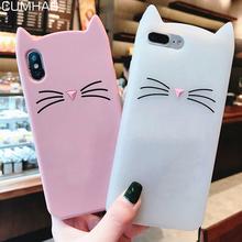 3D Cute Glitter Bearded Cat for Xiaomi Redmi Note 5 Pro 4 4X 6 6A 5A Silicon Case for Xiomi Mi 8 SE 6X Back Cover A2 Lite Case