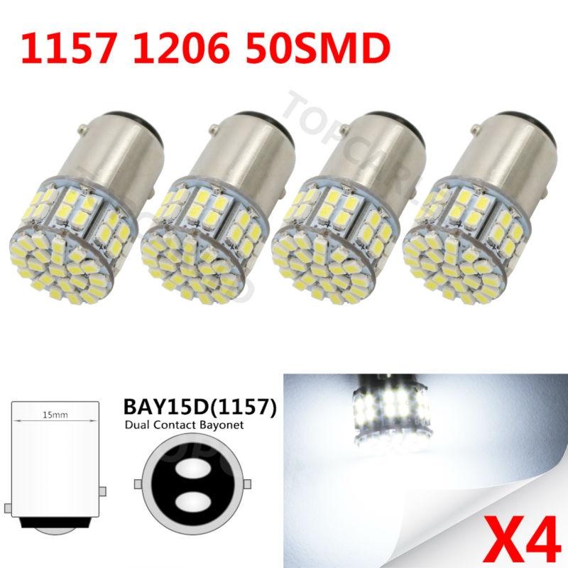 New 10X 1157 1156 bay15d Bulb 50smd 1206 led COB Light P21/5W Brake Tail Turn Signal Light Parking Backup Bulb Lamp White