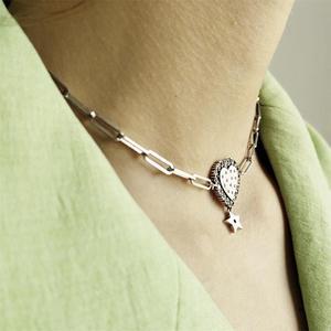 Image 2 - LouLeur prawdziwe 925 srebro serce krótki naszyjnik łańcuszkowy romantyczna gwiazda cyrkon naszyjnik na impreżę kobiety modne ładne biżuteria prezent