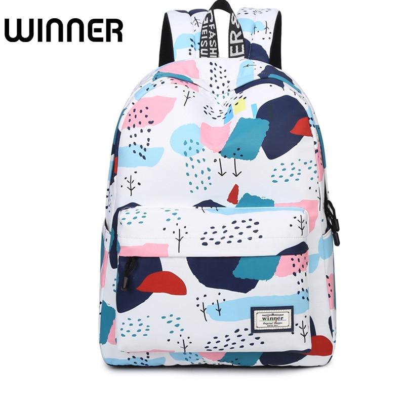 Fashion Korean Style Girls College Shoulder Bag Hit Color Travel Bag Women Backpack Style Geometric Printing Backpacks ...