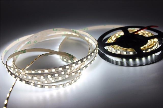 5mm PCB 3014 2835 LED bande, 12V blanc/blanc chaud 120LED s/m éclairage flexible couleur blanche Non étanche 5 m/lot