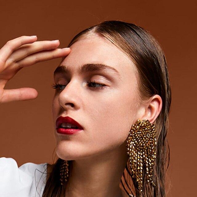 Best lady Geometric Metal Crystal Stud Tassel Earrings For Women Wedding Party Rhinestone Vintage Gifts Trendy Jewelry Brinco