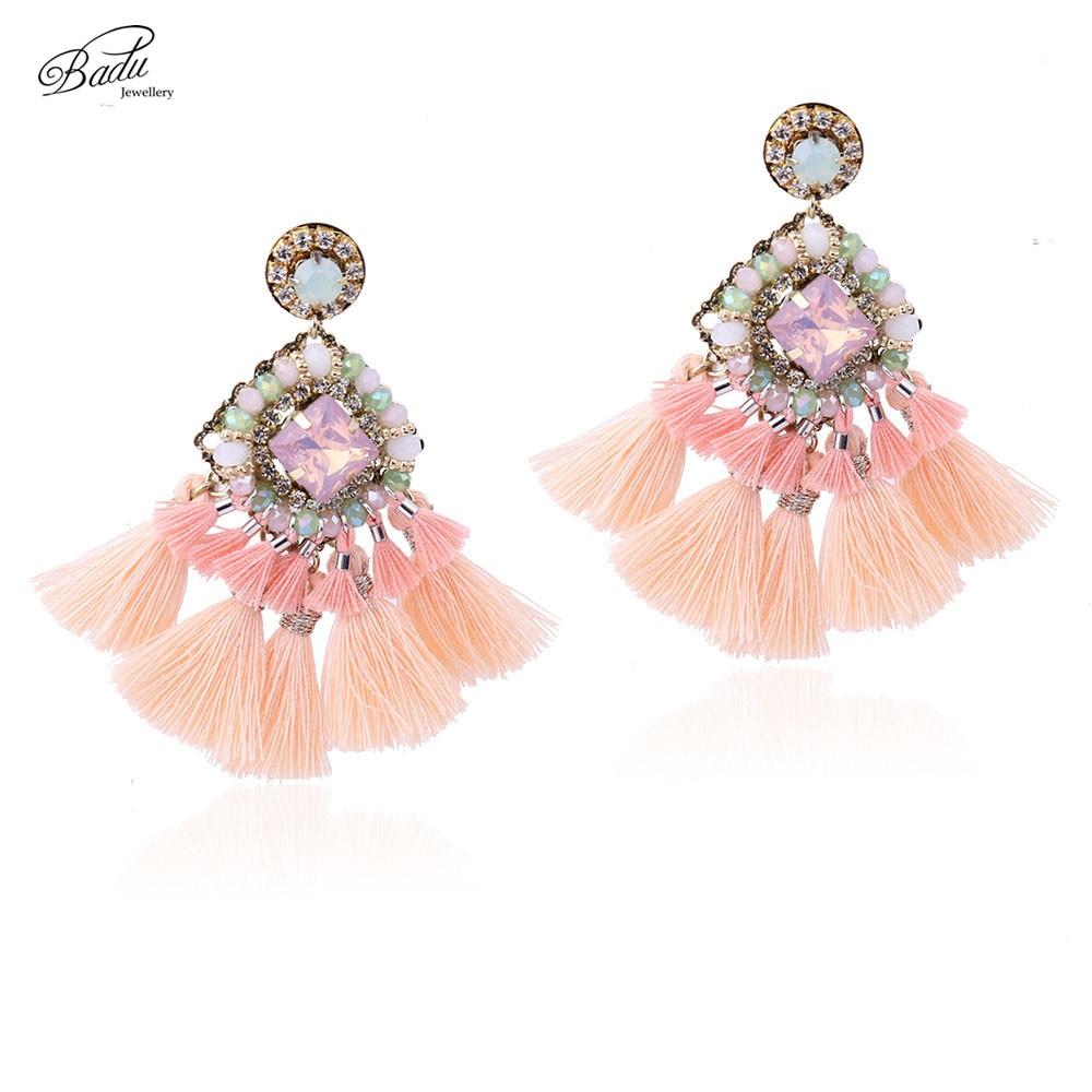 Badu Pink Rumbai Anting-Anting Baroque Indah Fringe Menjuntai Anting Wanita Boho Perhiasan Buatan Tangan Hadiah Pacar 2017 Baru Kedatangan