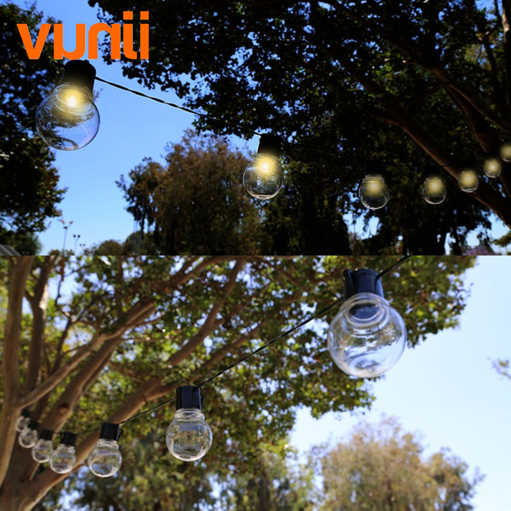 VUNJI Solar 5M 20 LED Wedding G50 String Fairy Light LED Globe Festoon Bulb Warm Fairy String Light Outdoor Party Garden Garland 20pcs bulb string light