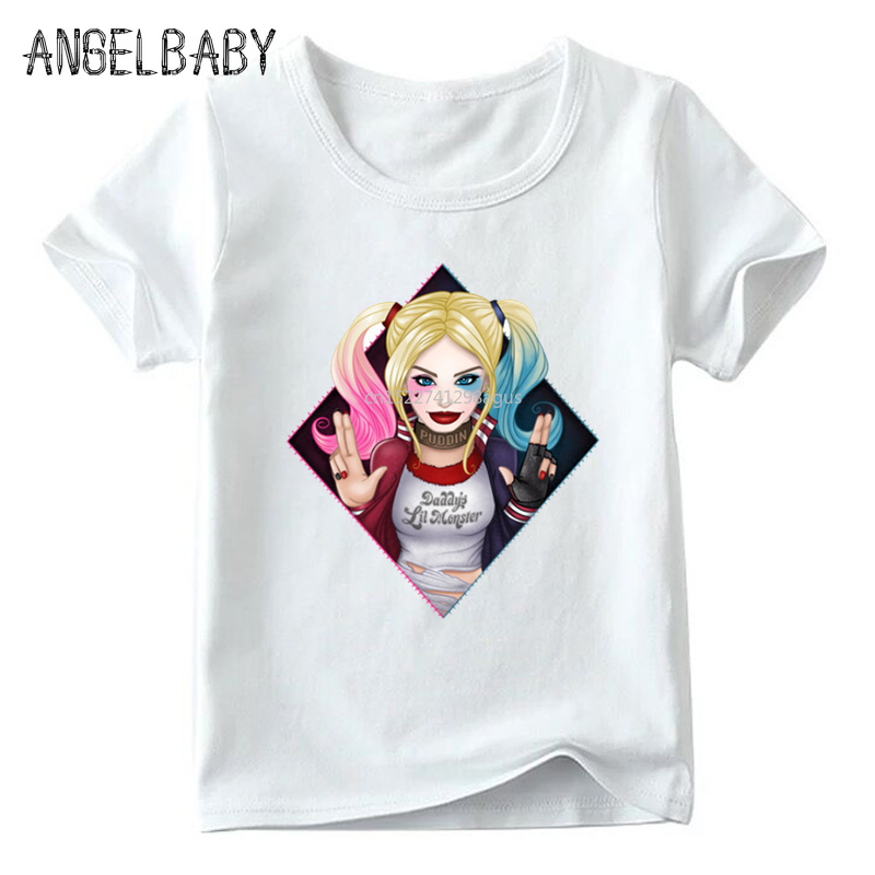 Children Suicide Squad Harley Quinn Print T Shirt Boys And Girls Summer White Tops Kids Casual Clothes,ooo5079