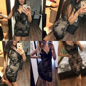 Image 4 - Соблазнительные Клубные наряды, летнее платье с блестками, женское черное облегающее мини платье для вечеринки, винтажные женские платья, одежда 2020