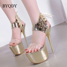 BYQDY Summer Platform Sandals Super Thin Heel Sexy Peep Toe High Ladies Shoes Lace Sliver Gold Promotion