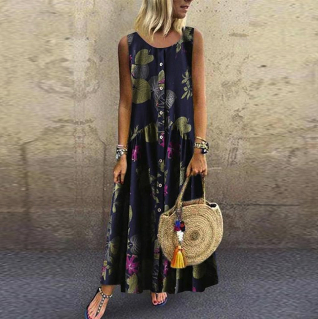 Summer Dress Women Plus Size Bohemian O Neck Floral Print Vintage Sleeveless Long Maxi Dress Casual