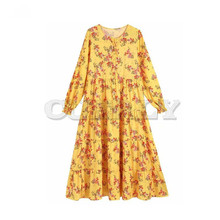 CUERLY women vintage floral print O neck chic maxi dress female Single-breasted long sleeve stylish ankle length dresses