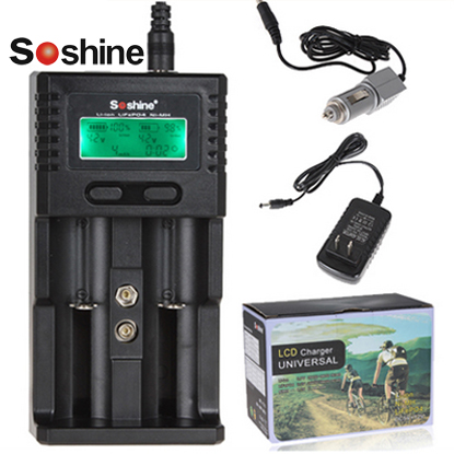 Soshine H2 Universal Smart Battery Charger LCD Display for 26650 18650 16340 AA AAA Li-ion Ni-MH LiFePO4 Battery + Car Charger