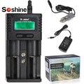 Soshine h2 cargador universal de batería inteligente pantalla lcd para 26650 18650 16340 aa aaa ni-mh li-ion lifepo4 cargador de batería + coche cargador