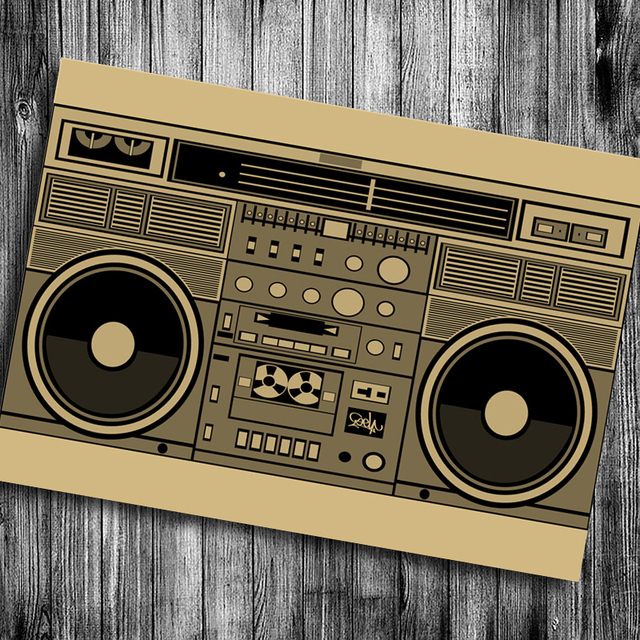 US $1 79 |Classic old radio vintage poster kraft paper wall sticker retro  poster pictures for house living room cafe bar pub free ship-in Wall