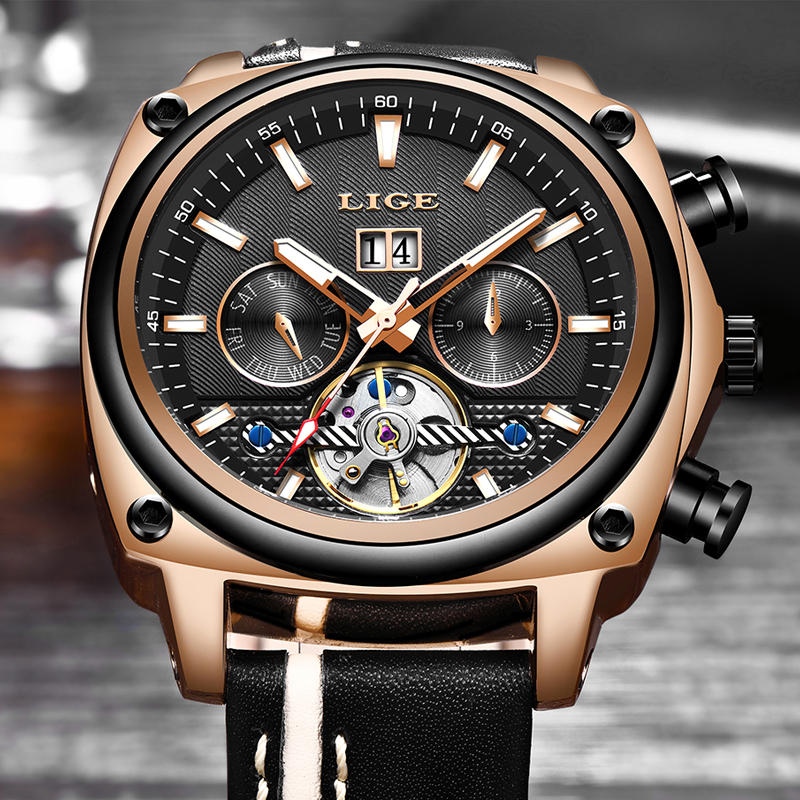New LIGE Mens Watches Top Brand Luxury Leather Sport Automatic Watch Large Dial Waterproof Mechanical Watch Relogio MasculinoNew LIGE Mens Watches Top Brand Luxury Leather Sport Automatic Watch Large Dial Waterproof Mechanical Watch Relogio Masculino