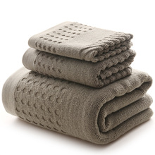Gray Plaid 100% Cotton Towel Set One Piece 70*140cm Bath Towel Two Pieces 74x34cm Face Towels Gift Towel Set 2/3PCS/Set