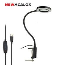NEWACALOX 돋보기 USB 3X 벤치 바이스 테이블 클램프 돋보기 LED 조명 작업 조명을 읽기위한 유연한 책상 램프