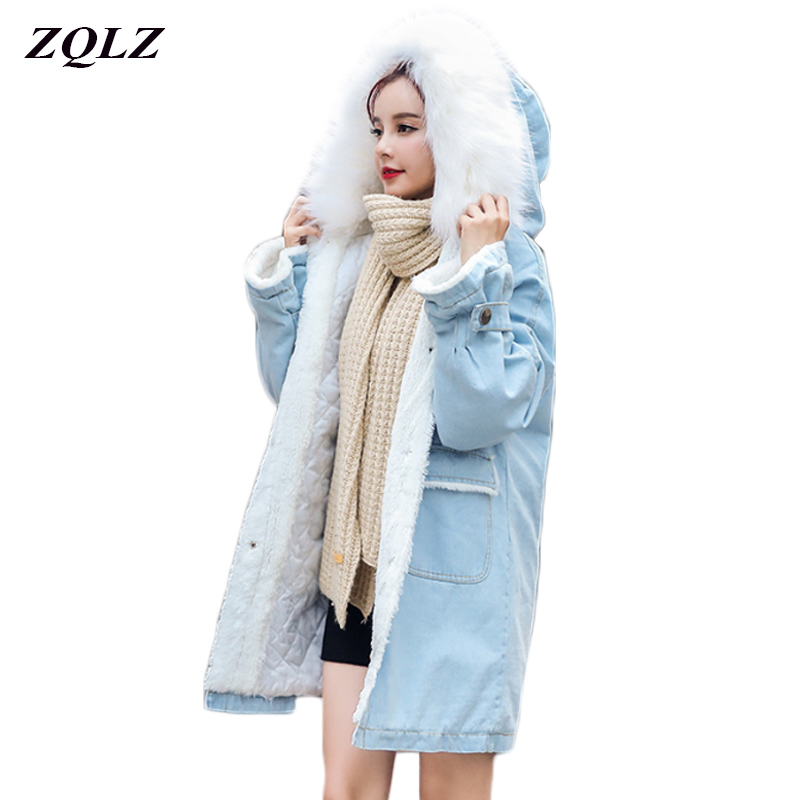 Zqlz Winter Denim Jacket Women Thickening Cotton Cowboy Coat Girl 2018 Fashion Fur Collar Hooded Loose   Parka   Chaquetas Mujer