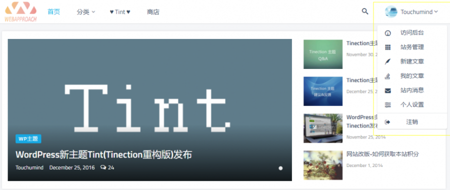 WordPress的Tint主题2.5.0-Pro破解无限制免授权Tinection重构版