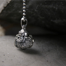 Necklace Pendant Floating Locket Openable Alchemy Furnace Inlaid Natural Stone 925 Sterling Silver Vintage Buddha Accessories
