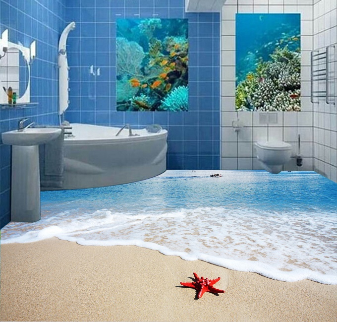 [Self-Adhesive] 3D Red Starfish Beach 2 Non-slip Waterproof Photo Self-Adhesive Floor Mural Sticker WallPaper Murals Print Decal