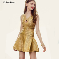 High Quality Autumn Winter Sexy V Neck A Line Bandage Dress For Party Gold Print DR648