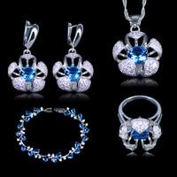 L B New Design 3D Flower Sky Blue Austrian Crystal White Zirconia Silver 925 Stamp Jewelry