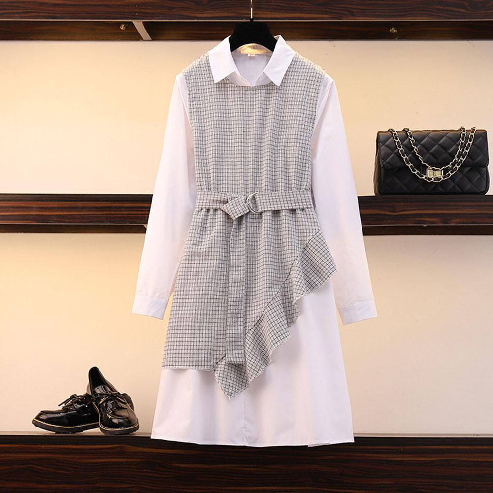 2019 New Yfashion Women Large Size Plaid Shirt Dress Matching Vest suit in Dresses from Women 39 s Clothing