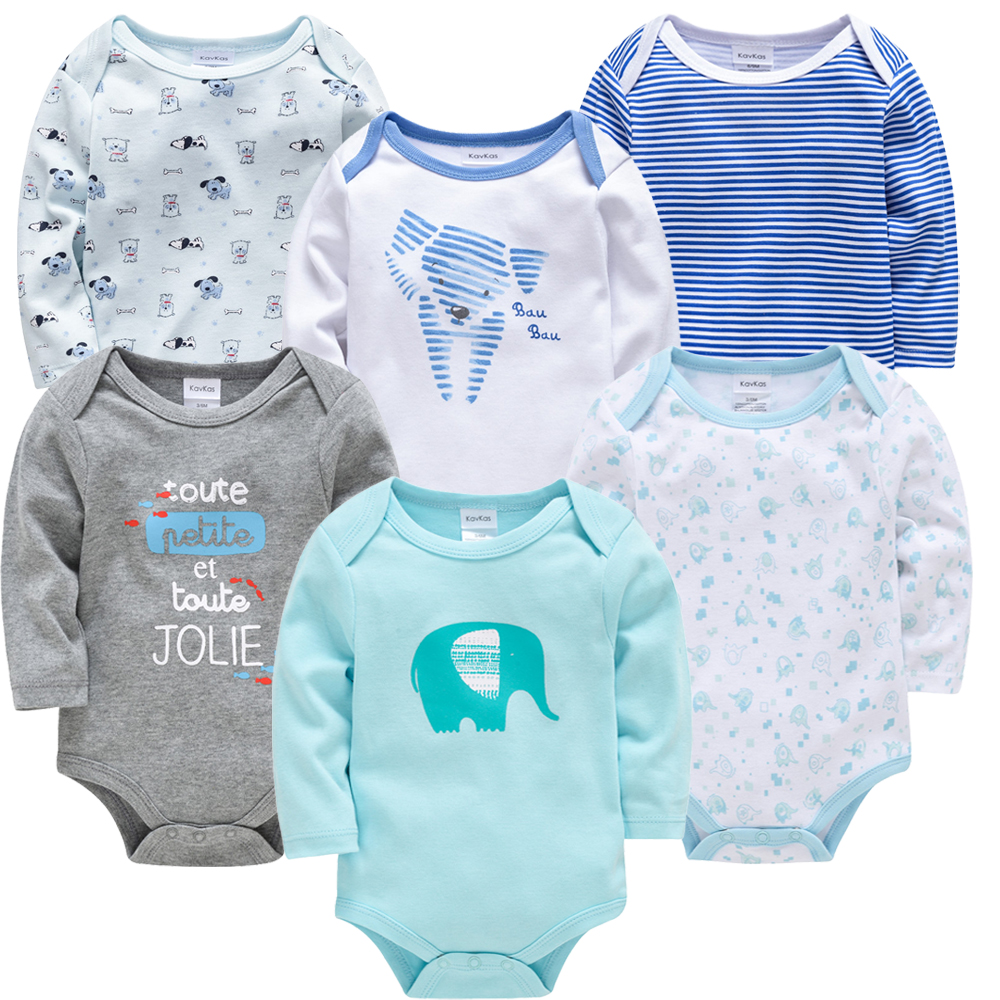 Kavkas New Baby Boys Bodysuit 6 PCS 3 PCS Long Sleeve Cotton Baby Boy Girl Clothes 0-3 Months Newborn Body Bebe Clothing