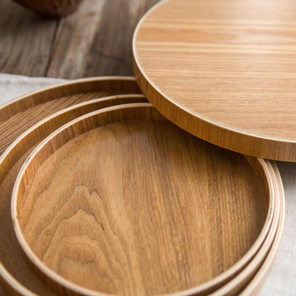 Natural Wood Plate Wooden Round Dish Serving Food Dessert Kitchen Retro Exquisit