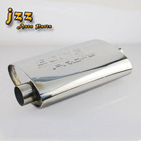 JZZ TURBO MUFFLER ID:2.5 OD:2.5 Length:19.5 Polished Universal Racing Performance Car Exhaust Muffler nozzle sport sound bomb