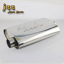"JZZ TURBO MUFFLER ID:2.5"" OD:2.5"" Length:19.5"" Polished Universal Racing Performance Car Exhaust Muffler nozzle sport sound bomb"
